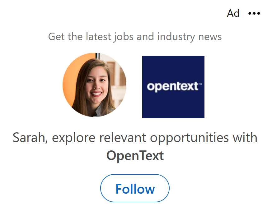 Example of LinkedIn Dynamic Ad