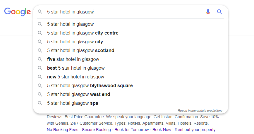 Auto suggest queries in Google