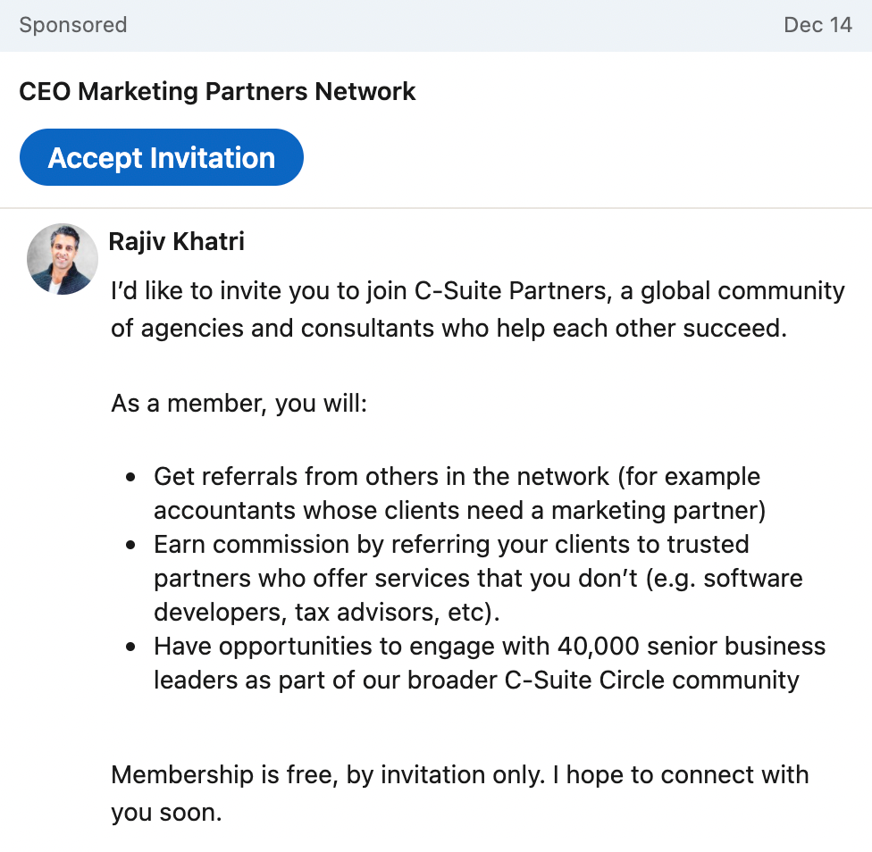 Example of LinkedIn message ads